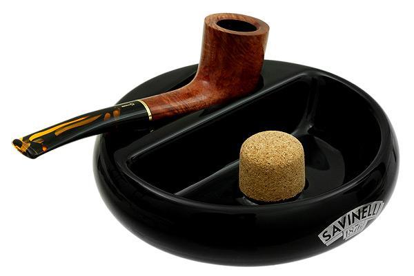 Pipe Accessories Savinelli Ceramic 1 Pipe Round Ashtray W/ Cork Pipe Knocker Black