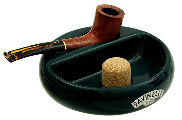 Pipe Accessories Savinelli Ceramic 1 Pipe Round Ashtray W/ Cork Pipe Knocker Green