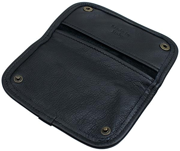 Pipe Accessories Claudio Albieri Italian Leather Tobacco Pouch Deluxe Black