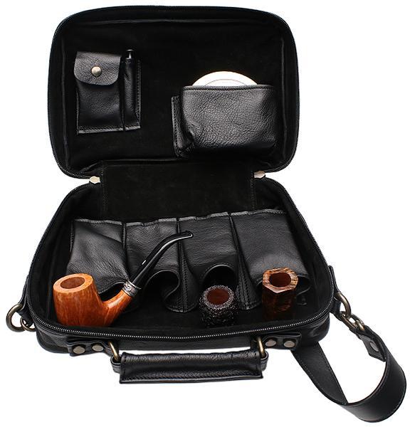 Pipe Accessories Claudio Albieri Italian Leather Elegance 4 Pipe Bag Black