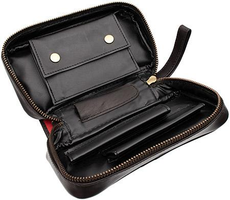 Pipe Accessories Peterson Deluxe Leather 2 Pipe Bag