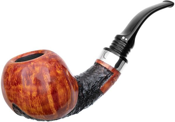 Winslow Partially Rusticated Bent Apple with Silver (9mm) (E)