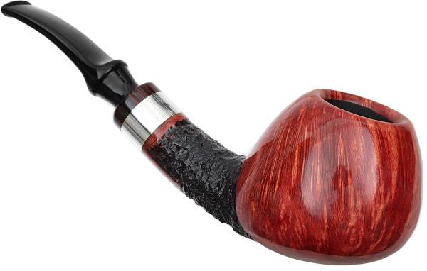 Winslow Partially Rusticated Bent Brandy with Silver (E)
